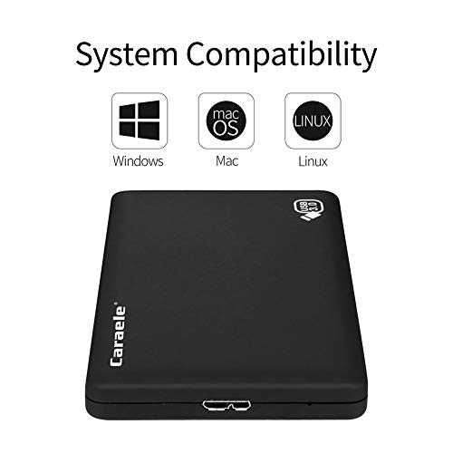 LYZL 3.38in Portátiles Discos Duros externos 500 GB de Disco Duro USB 3.0 de Almacenamiento de Copia de Seguridad, para PC, de Escritorio, portátiles, TV, Mac, MacBook, Chromebook, Windows,Negro,1TB