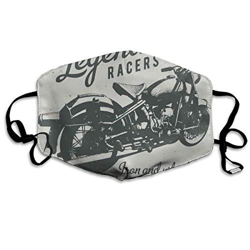 Cruiser Bike Sketch Met Hand Lettering Legendarische Racers QuotePrinting Veiligheid Mond Cover voor Volwassenen