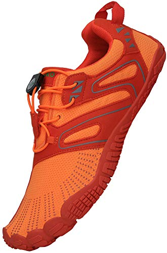 SAGUARO Zapatos Descalzos Mujer Respirable Zapatillas Hombre Minimalistas Barefoot Zapatillas de Trail Running Zapatos para Correr Playa de Arena Interior, Naranja 46
