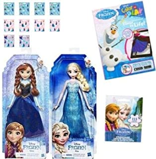 Kelsteve Frozen Anna and Elsa Dolls Bundle with Stickers and Bonus Coloring Book for Daughter, Niece, Friend, Granddaughter and More