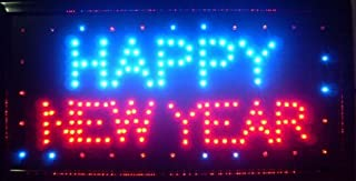 CHENXI Happy New Year LED Open Sign Rushed Sale Graphics Animated Motion Running 48 X 25 CM Indoor (48 X 25 CM, Happy New Year-02)