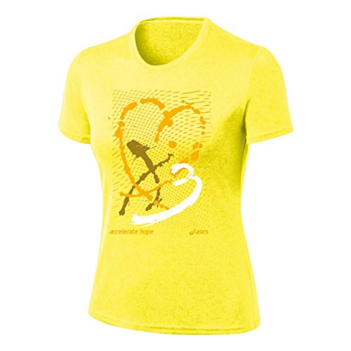 ASICS Camiseta para Mujer Accelerate Hope Paint My Heart Tech, Mujer, WR2415AH, Flash Yellow/Gold Fusion, XS