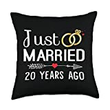 Couple 20 Years Anniversary Gifts Just Married 20 Years Ago Couple 20th Wedding Anniversary Throw Pillow, 18x18, Multicolor