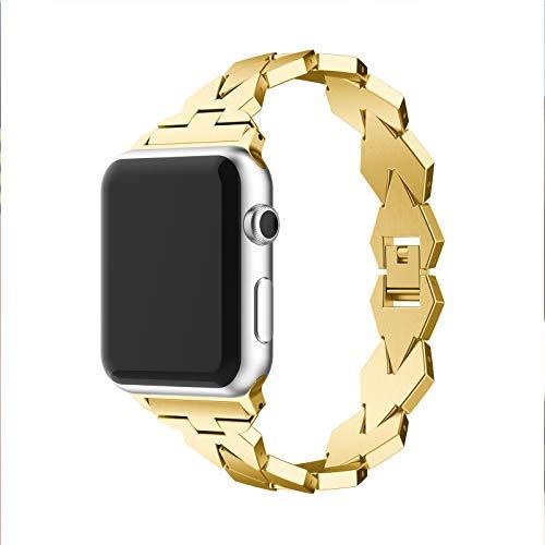 GUOCHEN Correas metálicas Compatible con Apple Watch 1/2/3/4 38mm 42mm, Banda de Acero Inoxidable Correa de reemplazo Pulsera de Pulsera Ajustable Cinturón,Oro,38mm