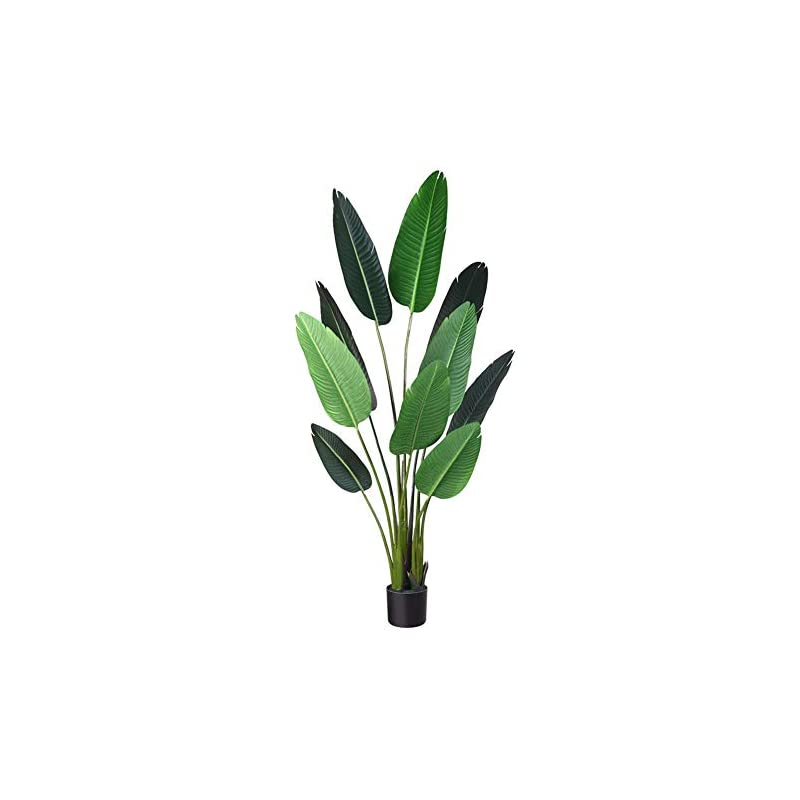 silk flower arrangements fopamtri artificial bird of paradise plant fake tropical palm tree for indoor outdoor, perfect faux plants for home garden office store decoration, 5 feet-1 pack
