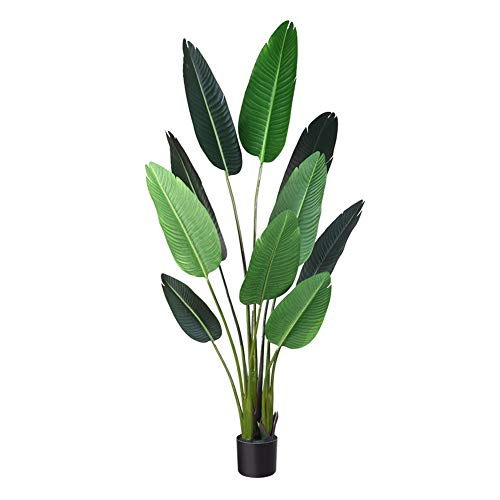 Fopamtri Artificial Bird of Paradise Plant Fake Tropical Palm Tree for Indoor Outdoor, Perfect Faux Plants for Home Garden Office Store Decoration, 5 Feet-1 Pack