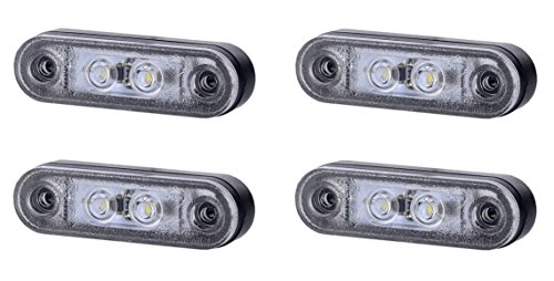 4 x 2 SMD LED Weiß Begrenzungsleuchte Umrissleuchte mit Gummi-Pad 12V 24V E-Prüfzeichen Positionsleuchte Auto LKW PKW Lampe Leuchte Licht Universal