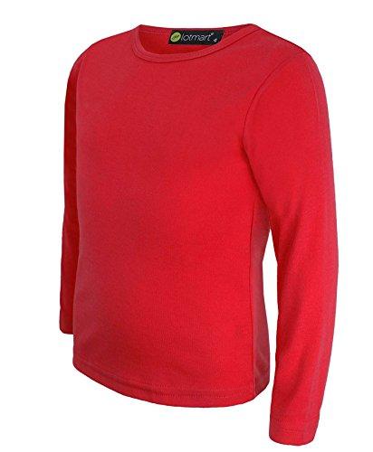LOTMART Bambini Tinta Unita Basic Top Manica Lunga Ragazze Ragazzi T-Shirt Top Girocollo Uniforme Tee - Rosso, 5-6 Anni