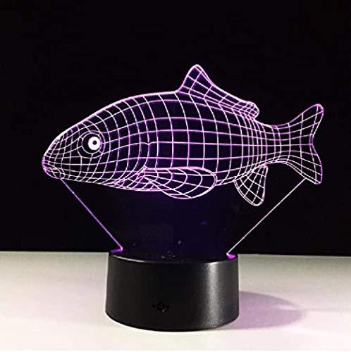 Lámpara de ilusión LED Luz Nocturna 3D de carpa asiática de colores luces de noche visuales para de mesa USB de noche para dormir para bebés niños Decoración de regalo