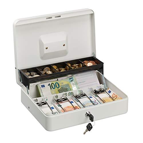 Relaxdays HMF - Caja de caudales (4 Compartimentos para Billetes, Hierro, 8,5 x 30,5 x 24,5 cm), Color Blanco