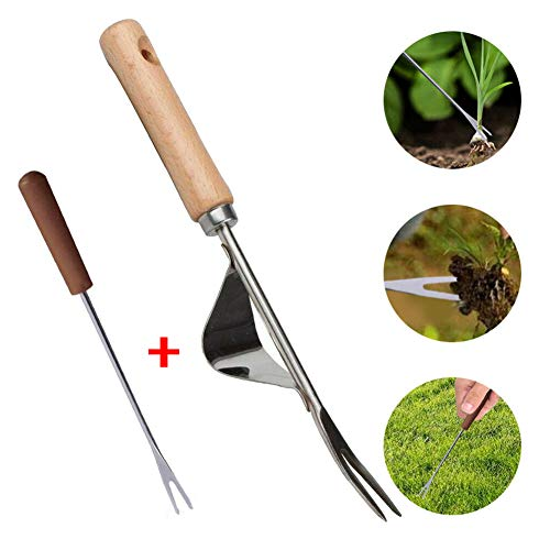 Affordable 2PCS Manual Hand Weeder Weeding Weed Remover Puller Tool Fork Lawn Garden Tools for Garde...