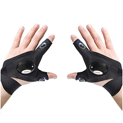 PIBEI Led Flashlights Gloves,Flashlight Glove Tool Cool Gadgets Gifts for Camping, Night Running, Fishing, Cycling, Birthday Gifts for Man and Woman (1pair)