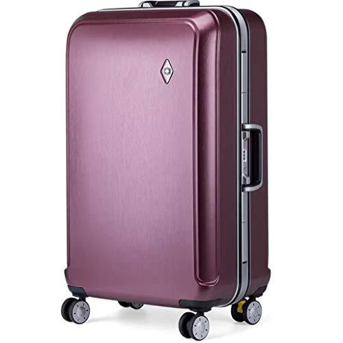 ZHJ Maleta Universal de Equipaje Caja de Bloqueo de Aluminio Caja de Trolley para Hombres y Mujeres Maleta de embarque Portatrajes de Viaje (Color : Purple, Size : 20)
