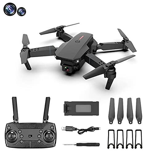 GZTYLQQ E88 Drone con cámara Dual 4K HD Optical Flow RC Quadcopter, 15 Minutos, Volteretas 3D Control de Gravedad Modo sin Cabeza Video en Vivo WiFi FPV Plegable para Principiantes Negro