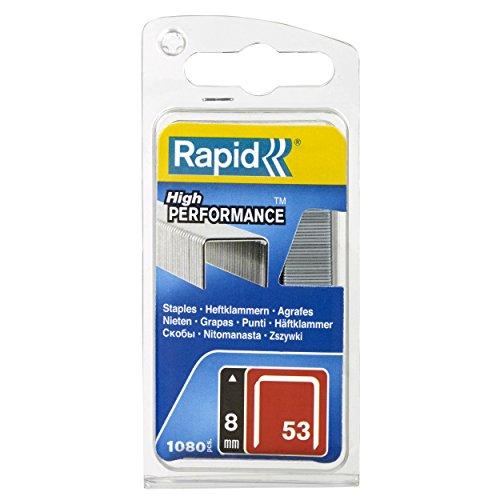 Rapid Tackerklammern Typ 53, 8mm Klammern, 1.080 Stk., Feindrahtklammern für Holz und Stoffe