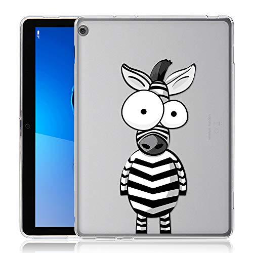 ZhuoFan Coque Huawei Mediapad M3 Lite 10 Housse de Protection Étui Fin en Silicone Transparente avec Motif Antichoc TPU Cover Case pour Tablette Huawei Mediapad M3Lite 10.1 Poucess, Zèbre