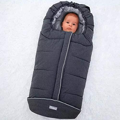 Orzbow Fußsack für Kinderwagen Buggy,Baby Fußsack Schlafsack,Babyfußsack für Babyschale,Winterfußsack mit Reißverschluss Waschbar Passend für Alle Kinderwagen (Dunkelgrau,Groß)