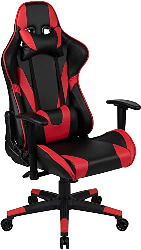 Gaming Chair, Ergonomic Office Chair for PC and Gaming Setups, Adjustable Gamer Chair with Fully Reclining Back Support, Black Gaming Chair with Red...
