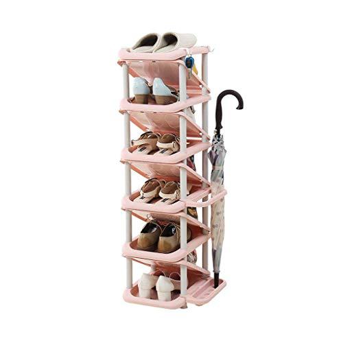 BXU-BG Zapatero de plástico para pasillo de varios niveles, apilador de zapatos, estantes angulados, con soporte para paraguas, ahorro de espacio, color rosa