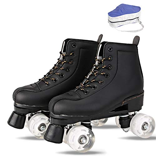 Roller Skates, Erwachsene Zweireihig Skates Mit Roller Bag, Skate-Gang Soft Classic Kunstleder Rollschuhe, Art Roller Skates,Schwarz,43