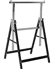 Meister Metalen bok, 200 kg, inklapbaar, variabele werkhoogte van 800-1300 mm, 7-traps hoogteverstelling, met vergrendelingshaken, metalen onderstelbok, telescopische werkbok, steigerbok, 5258110