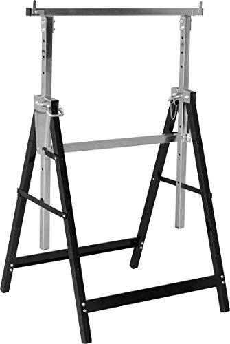 Meister Metallbock 200 kg - Klappbar - Variable Arbeitshöhe von 800 - 1300 mm - 7-stufige Höhenverstellung - Mit Rasthaken / Unterstellbock aus Metall / Teleskop-Arbeitsbock / Gerüstbock / 5258110
