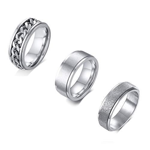 VNOX 3Stück Edelstahl Spinner Zappelringe für Männer Frauen Stress abbauende Ringe Hochzeitsversprechen Ringe Angst Bandringe Sets,Größe 19.8,Silber