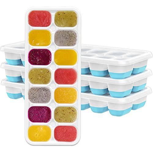TOPELEK 14-Fach Eiswürfelform 4er Pack Silikon Eiswuerfel Mit Deckel Ice Tray Ice Cube, Kühl Aufbewahren, LFGB Zertifiziert, Blau ( 4er pack ) GDDEGECP070AL-1