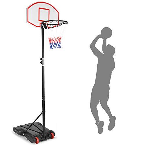 COSTWAY Basketballkorb Outdoor, Basketballständer von 180 bis 210cm höhenverstellbar, Basketballanlage mit Ständer und Rädern, Basketballanlage für Kinder und Erwachsene