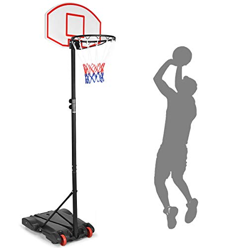 Giantex Portable Basketball Hoop w/Wheels, Height Adjustable Basketball Stand for Kids Indoor Outdoor, 28 Inch Backboard