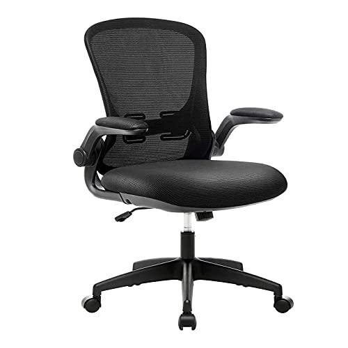 YWJPJ. Rocking Desk Chair mit verstellbaren Armlehnen, schwarzer ergonomischer Bürostuhl, atmungsaktiver Mesh-High-Back-Computerstuhl