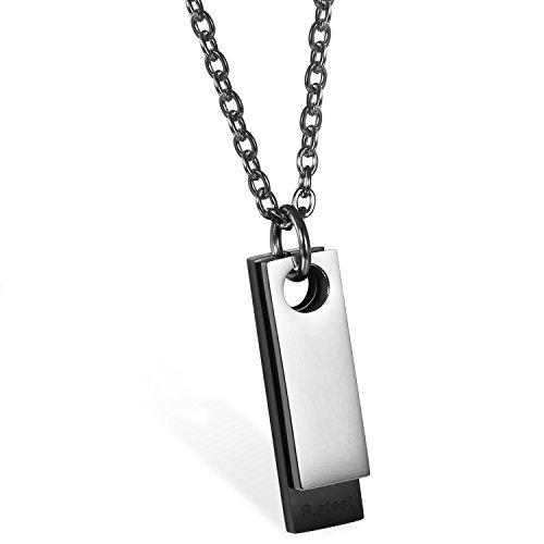 JewelryWe Colgante Collar de Camisa, Dog Tag Militar Cadena de 55 cm, Personalizadas Placas Estilo Ejército para Grabar, Acero Inoxidable, Color Plata