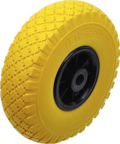 BGS Diy 80652 | Roue pour diable/chariot de transport | PU, jaune/noir | 260 mm