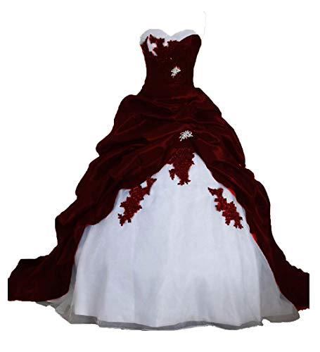 O.D.W Frauen Lange Formales Gotisch Brautkleider Spitzenkleid Vintage Hochzeitskleider(Weiß+Burgund, 32)