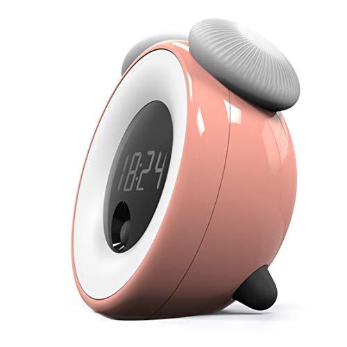 HiXB Reloj Despertador Recargable Tonos de Llamada polifónicos SIN garrapatas Regalos para niños,Pink