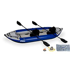 Sea Eagle 380x Inflatable Kayak with Pro Package 5 Extra-tough inflatable kayak designed for two to three adults and gear (holds 750 pounds max) 1,000-denier, polyester-supported, high-pressure fabric resists all punctures Four extra-large, easily convertible drains work in both wet and dry conditions