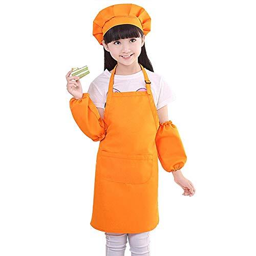 Penaio Kinderschürze 3 Stück Kinder Schürze und Kochmütze Set Zeichnen Kindergarten für Küche Kochen Malerei Backen Orange