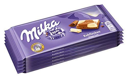 Milka Kuhflecken - Zartschmelzende Schokoladentafel mit Kuhflecken aus weißer Schokolade - Großpackung - 5 x 100g