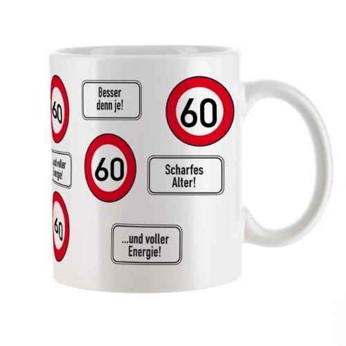 Herz & Heim® Kaffeetasse zum 60.Geburtstag mit Verkehrszeichen - 60 -