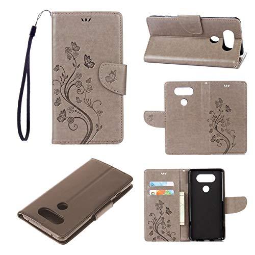JEEXIA® Schutzhülle Für LG V20, Retro PU Lederhülle Flip Cover Brieftasche Innenschlitzen Mit Stand Schmetterling Gras Muster - Grau