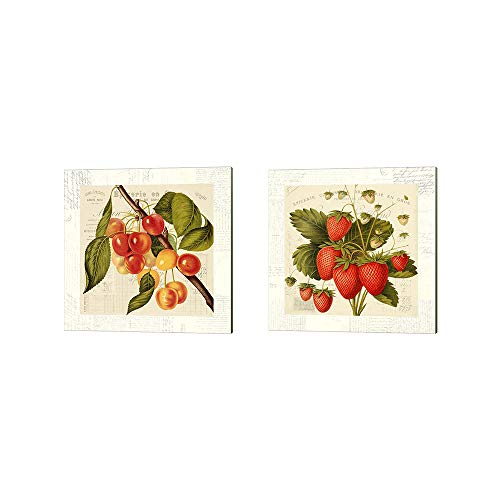 Cerises & Fraises by Remy Dellal, 2 Piece Canvas Art Set, 10 X 10 Inches Each, Kitchen Fruit Art