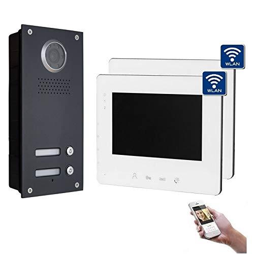 2-Draht Bus IP Video Türsprechanlage, 2 Familienhaus Set, 7'' Monitor, Anthrazit, Farbe: 2x7'' Monitor mit WLAN
