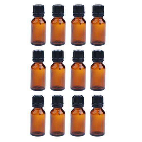 harayaa 12 Juegos de Recambios de Botellas de ámbar Vacías de Aceites Esenciales de Vidrio con - marrón 10ML