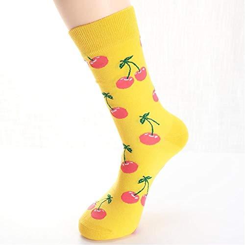 LJLLINGA 6 Paia di Calzini da Donna Divertente Simpatico Cartone Animato Frutta Banana Avocado Limone Uovo Biscotto Ciambelle Cibo Calzini da Skateboard Felici
