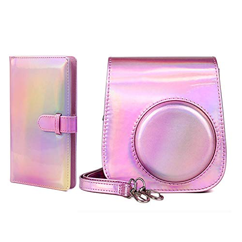 Colorida funda protectora compatible con Fujifilm Instax Mini 11, Mini 9, Mini 8, Mini 8+ bolsa de cámara instantánea con 96 bolsillos de 3 pulgadas, álbum de fotos, funda portátil (rosa colorido)
