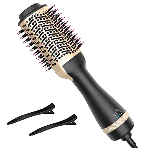 Hair Dryer Brush, Hot Air Brush one Step Hair Dryer Styler & Volumizer 3 in 1 Brush Blow Dryer Styler for Rotating Straightening, Curling, Salon Negative Ion Ceramic Blow Dryer Brush