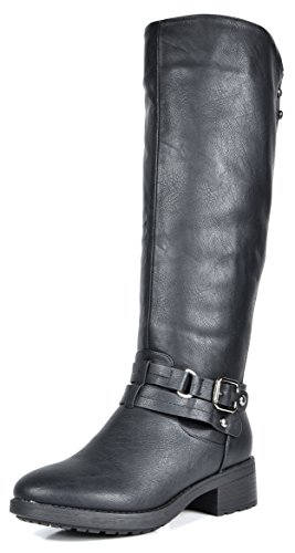 DREAM PAIRS Women's Uncle Black Knee High Motorcycle Riding Winter Boots Size 7.5 M US