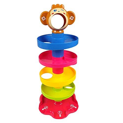 LHT Creatividad Grounder Track Tower Tower Forma Color Reconocimiento práctico Entrenamiento Temprano Educación de la Infancia Puzzle Juego Juguetes para Bebés y Niños Pequeños