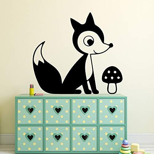 Pegatinas de pared para dormitorio de niños, animales lindos, zorro, gato, oso, panda, accesorios baños, pegatina para nevera, sala de estar, vinilo, fondo artístico, romántico, extraíble, 58x64cm