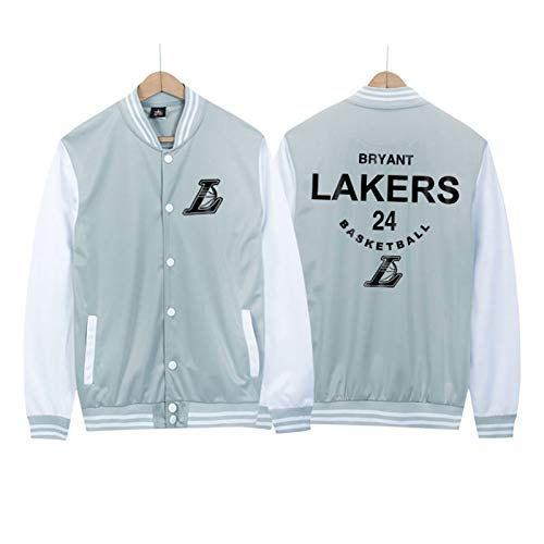 YanLin Lakers Kobe Bryant Colorblock Baseball Uniform Herren Basketballjacke Bomberjacke Frühling Und Herbst Dünn, EIN Geschenk Für Jungen,Blau,XL